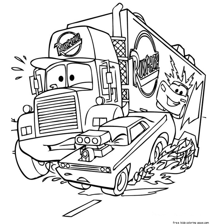 Cars 2 Coloring Pages: Printable Mack Car 2 Coloring Pages Disney For KidsFree
