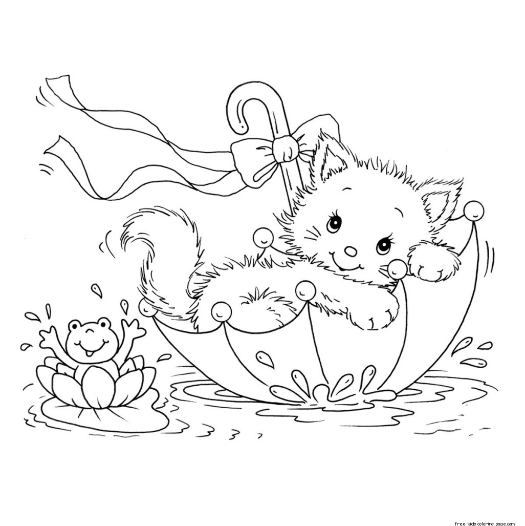 Printable coloring pages kitty cat and frog in umbrellaFree ...