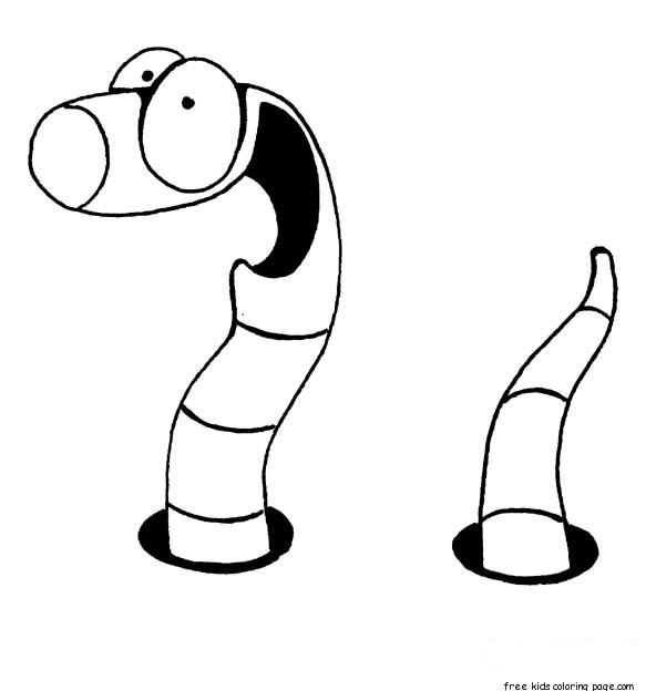 worm coloring pages for preschoolersFree