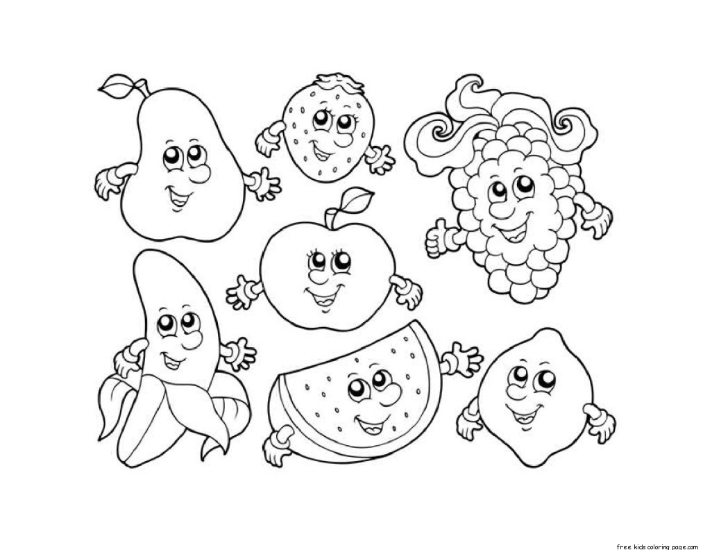 Apple Watermelon Strawberry Banana Grape coloring in sheetsFree ... for Watermelon Drawing For Kids  10lpwja