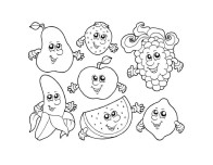 Apple Watermelon Strawberry Banana Grape coloring pages