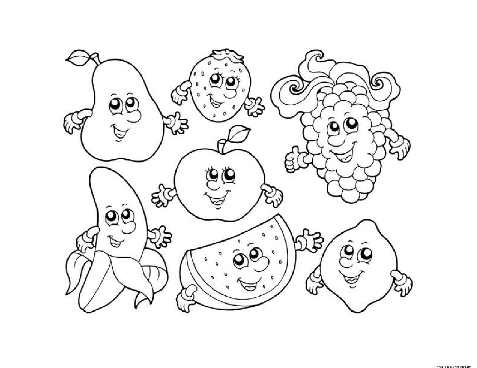 Apple watermelon strawberry banana grape coloring in for Apple coloring pages