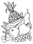 Fruits Pineapple Grpsae and Banana coloring in pages