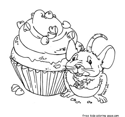 Print out mouse eats the muffin coloring book pagesFree
