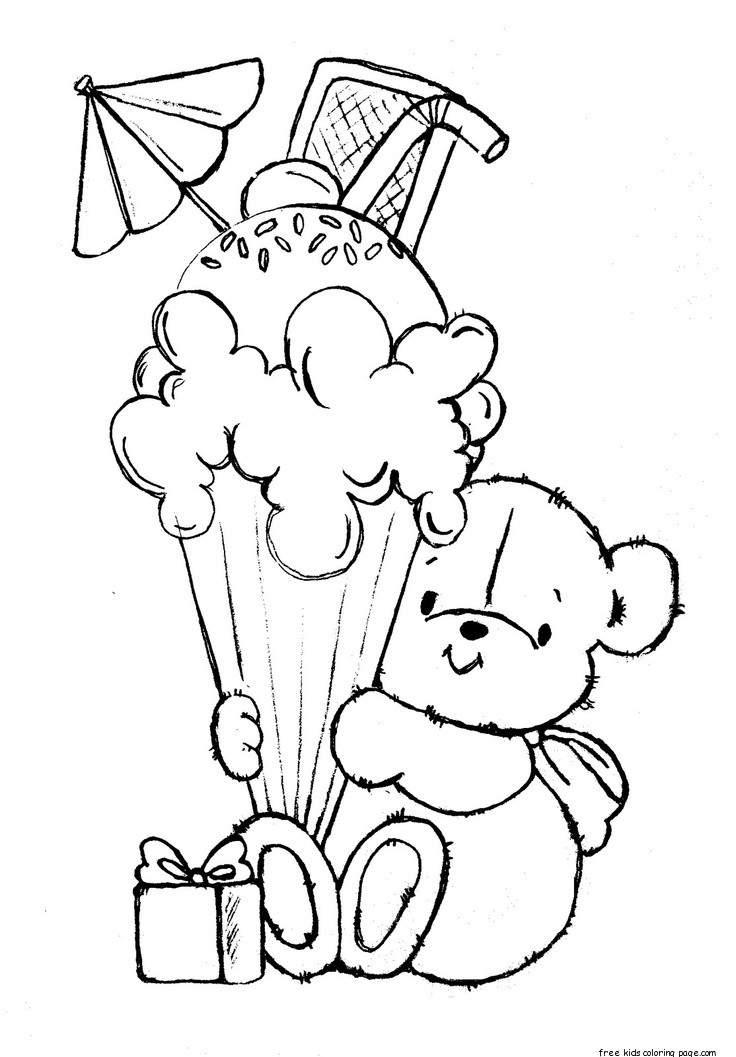 Printable teddy bear with birthday ice cream coloring