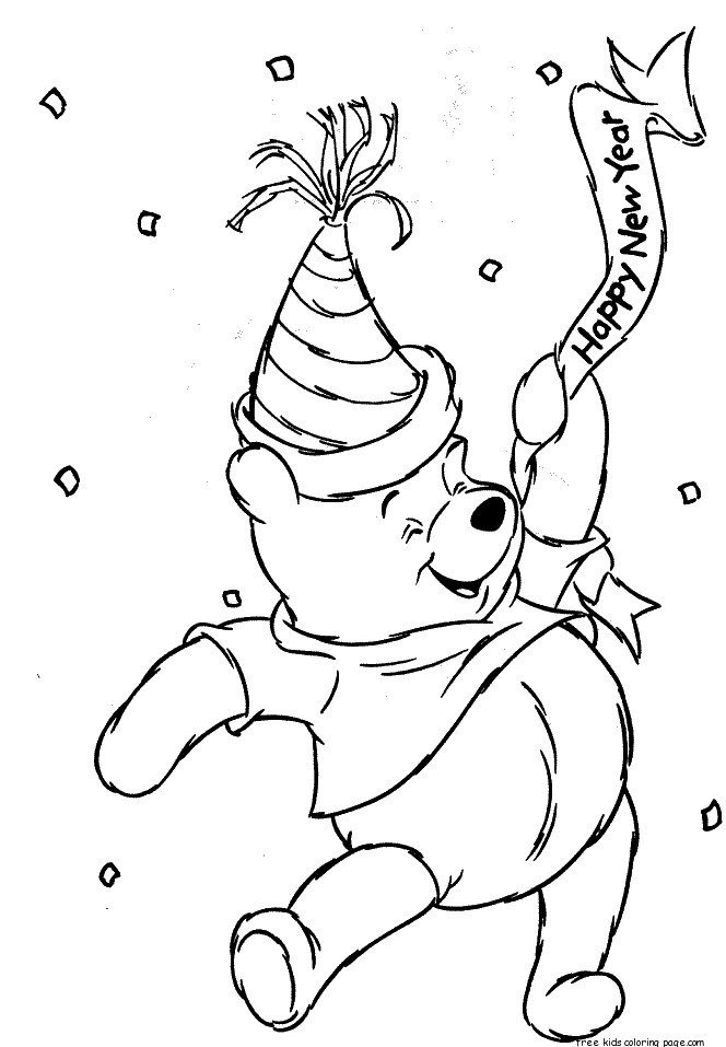 Winnie The Pooh In New Year Coloring Page Free Printable
