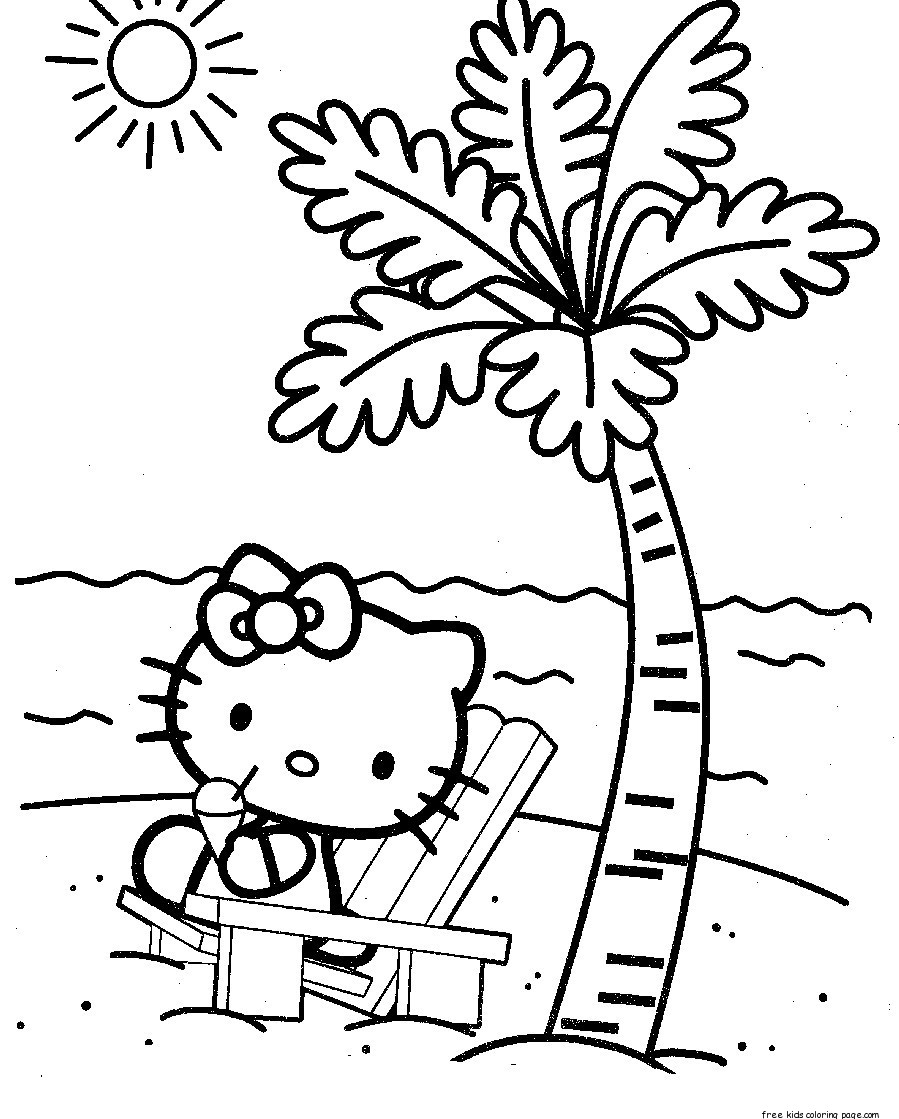 free print coloring pages for kids - free coloring pages for kids hello kitty at the beach