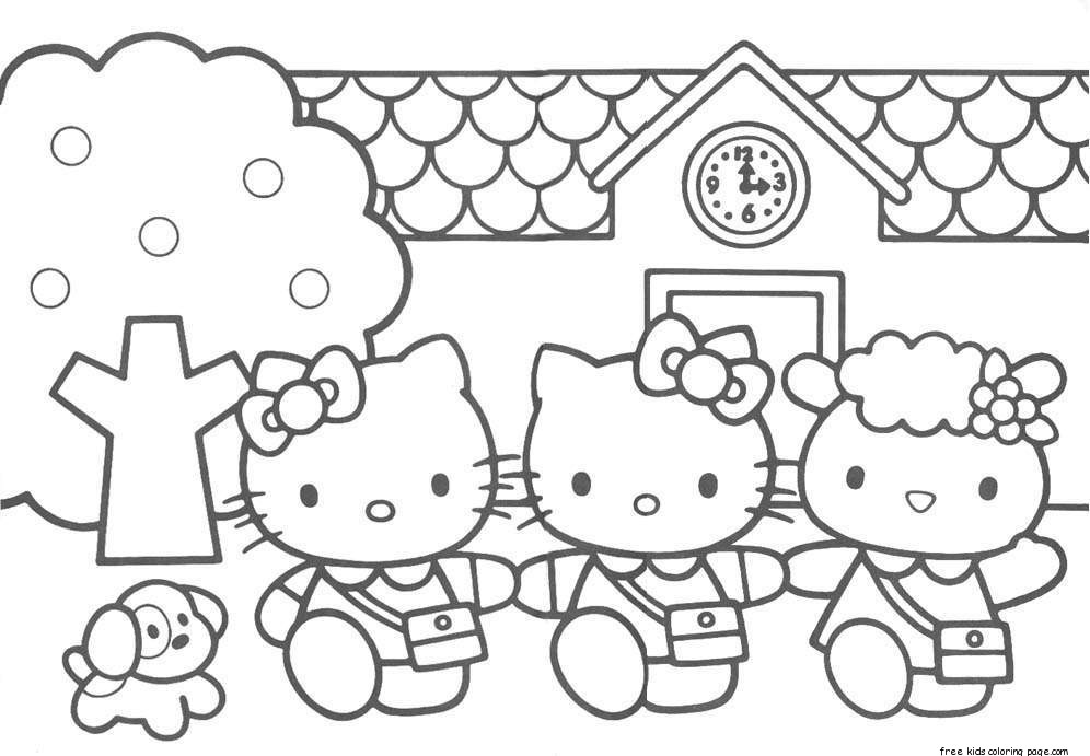 Print Out Hello Kitty Friends Printabel Coloring PagesFree
