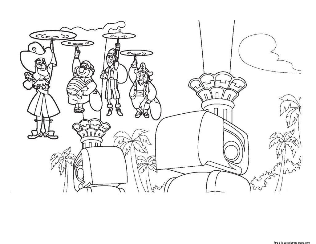 Free coloring pages jake and the neverland pirates -  1026 X 792