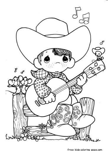 Precious Moments Boy Playing Guitar Cowboy Coloring
