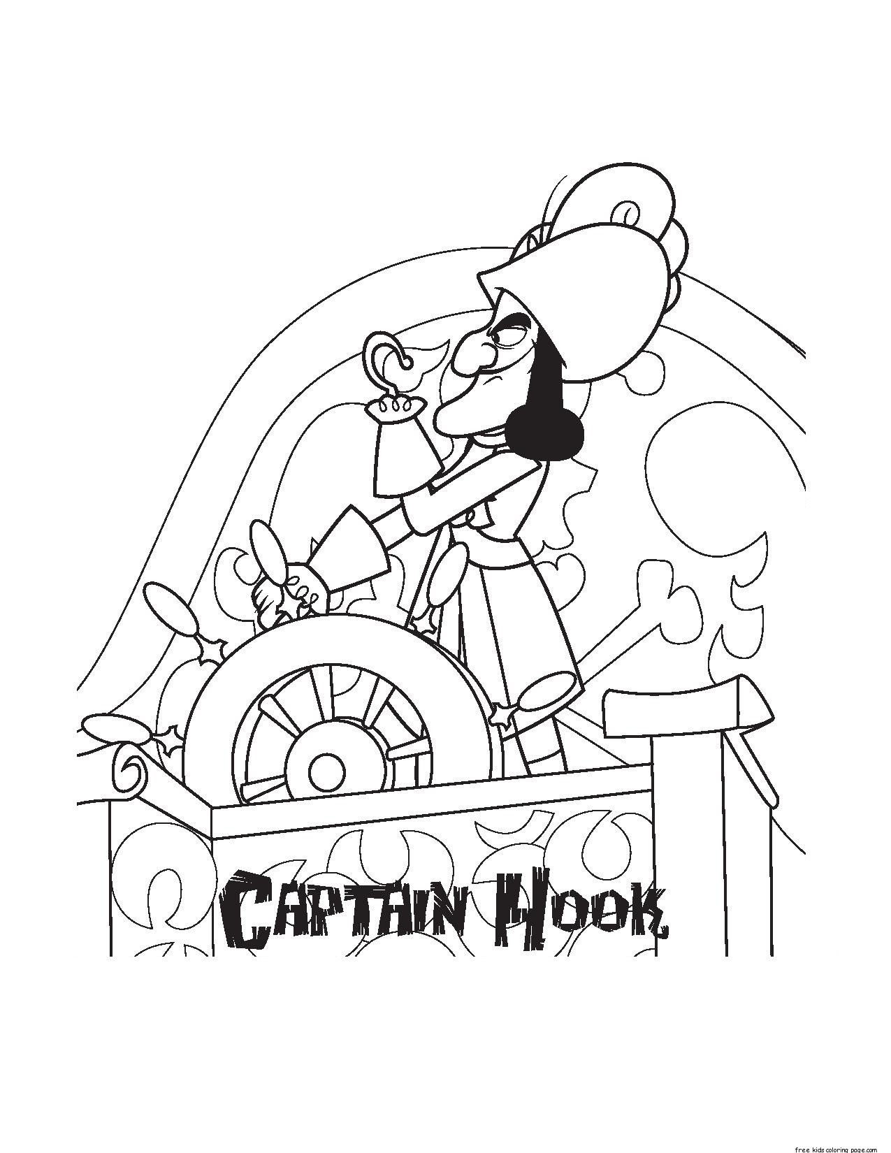 Captain Hook And Pirates Coloring Pages For Kidsfree