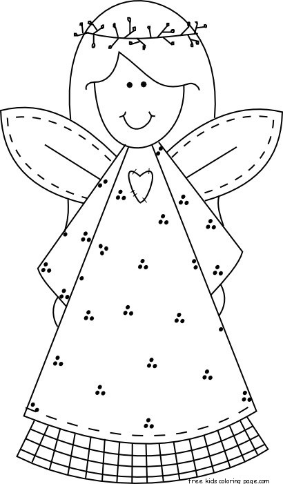 Printable Christmas smile face angel coloring pages for