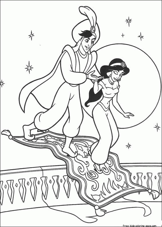 Printable Aladdin And Princess Jasmine Coloring Pagesfree