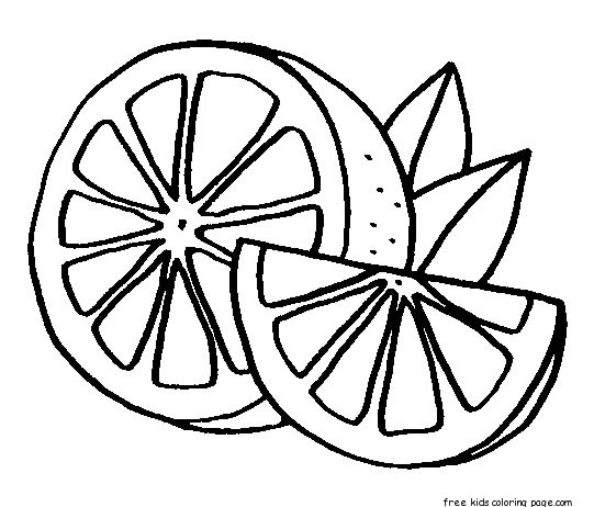 Print out Fruits Orange colouring book pages for kidsFree ...