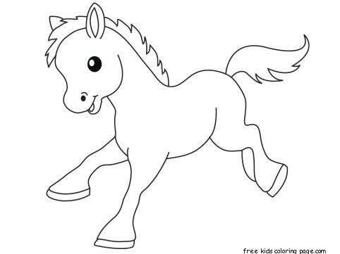 Pony Baby animals coloring pages for kidsFree Printable