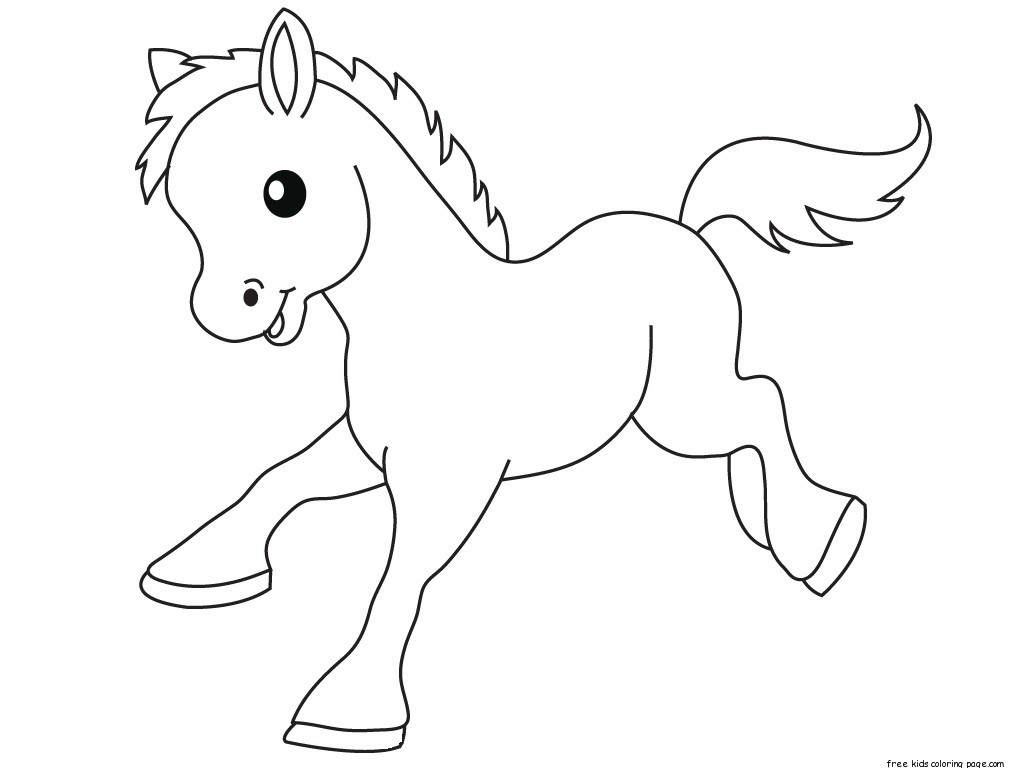Pony baby animals coloring pages for kidsfree printable for Baby animal coloring page