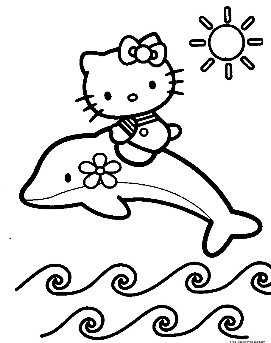 Coloring Pages To Print : Print out coloring pages of dolphin with hello kitty for