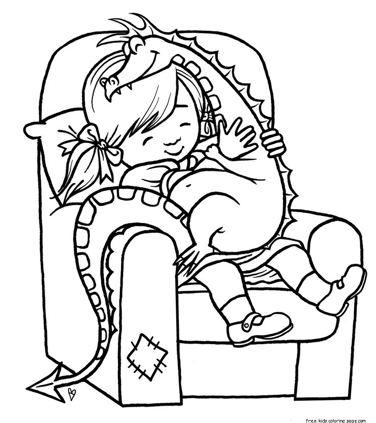 Print out girl playing with toy dragon coloring pageFree