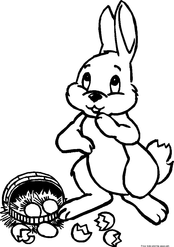 Printable easter bunny and basket