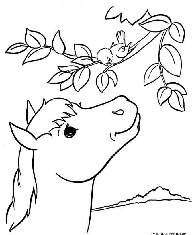 Print Out Coloring Pages Animal Pony At Tree For KidsFree