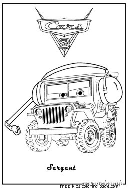 Print out disney cars sarge coloring page for kidsFree