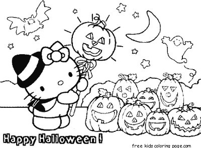 Barbie And Tawny Coloring In Sheet Hello Kitty Halloween With Pumpkins
