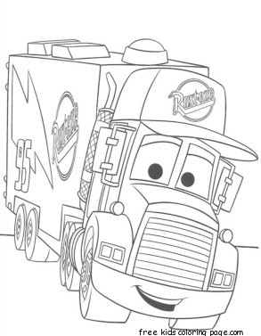 cars 2 mack truck car carrier coloring pages for kidsFree ...