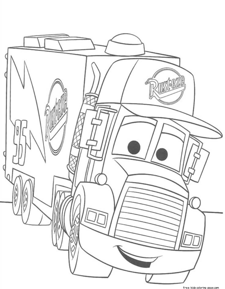 cars 2 mack truck car carrier coloring