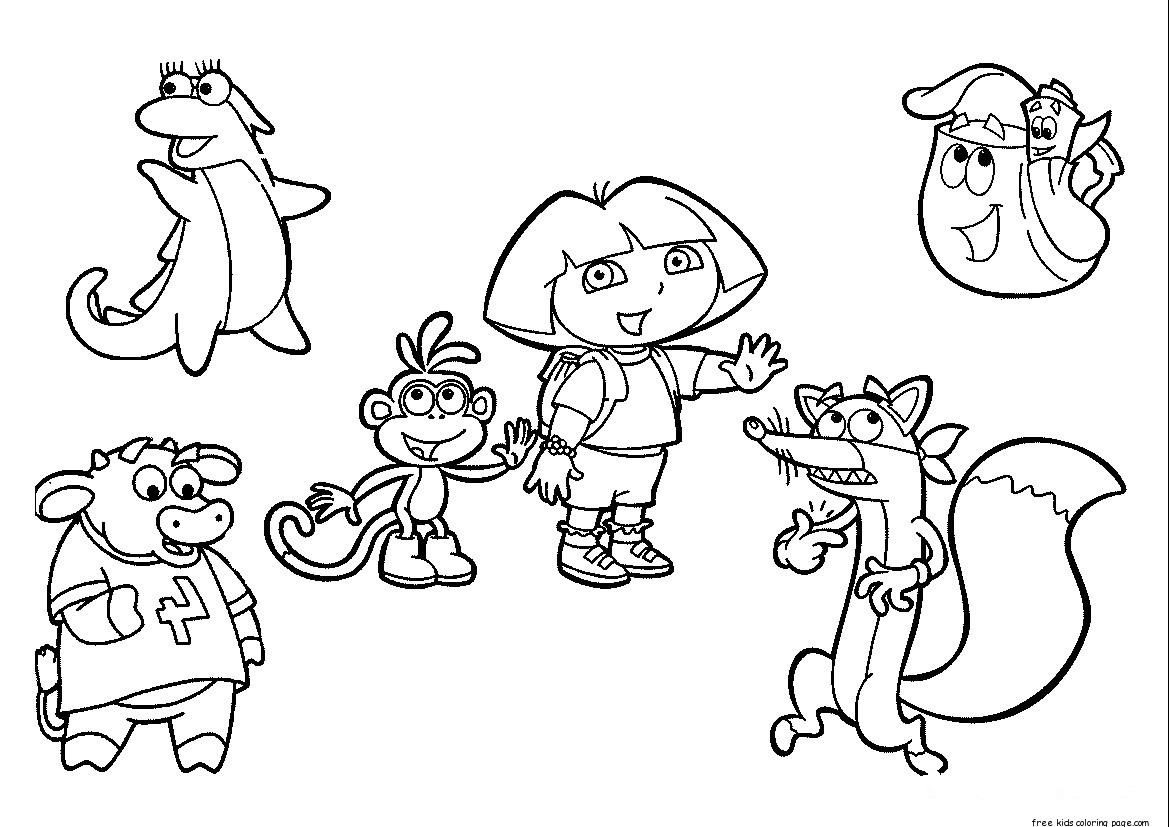 dora the explorer coloring pages free to printfree printable