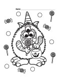 Halloween Candy Critter printabel Coloring Page