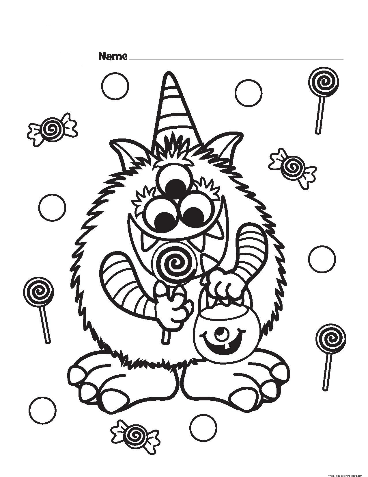 Halloween candy critter printabel coloring page free for Cute halloween coloring pages free