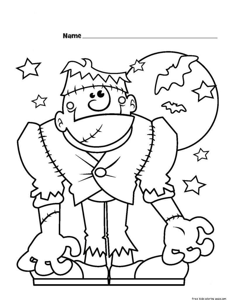 Halloween frankenstein monster printabel coloring pages for Frankenstein coloring pages