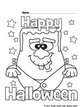 Halloween happy monster coloring pages for kidsfree for Happy halloween coloring pages printable