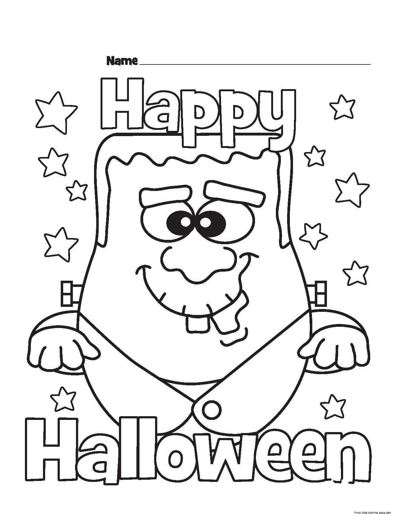 Halloween happy monster coloring pages for kidsfree for Halloween printable color pages