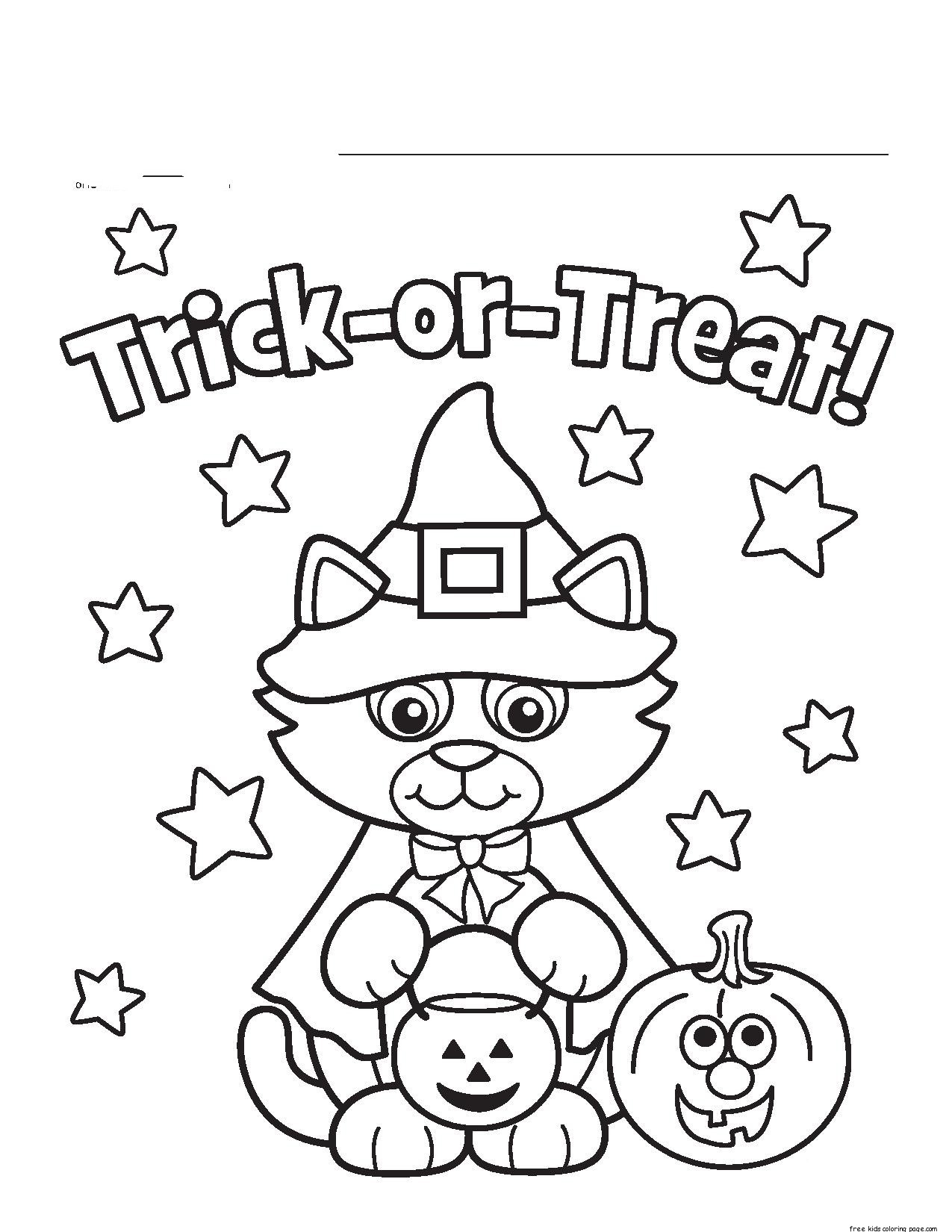 Halloween kitty costume printable coloring pages for for Halloween print out coloring pages