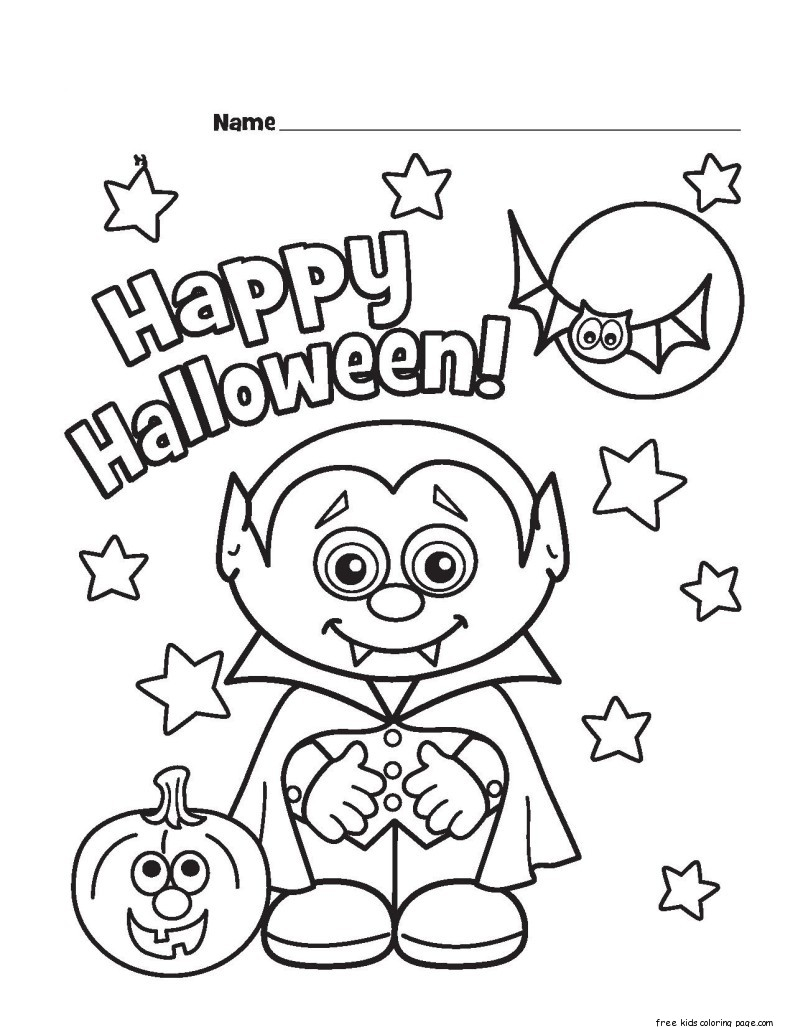 Halloween Little Vampire Printable Coloring Pages