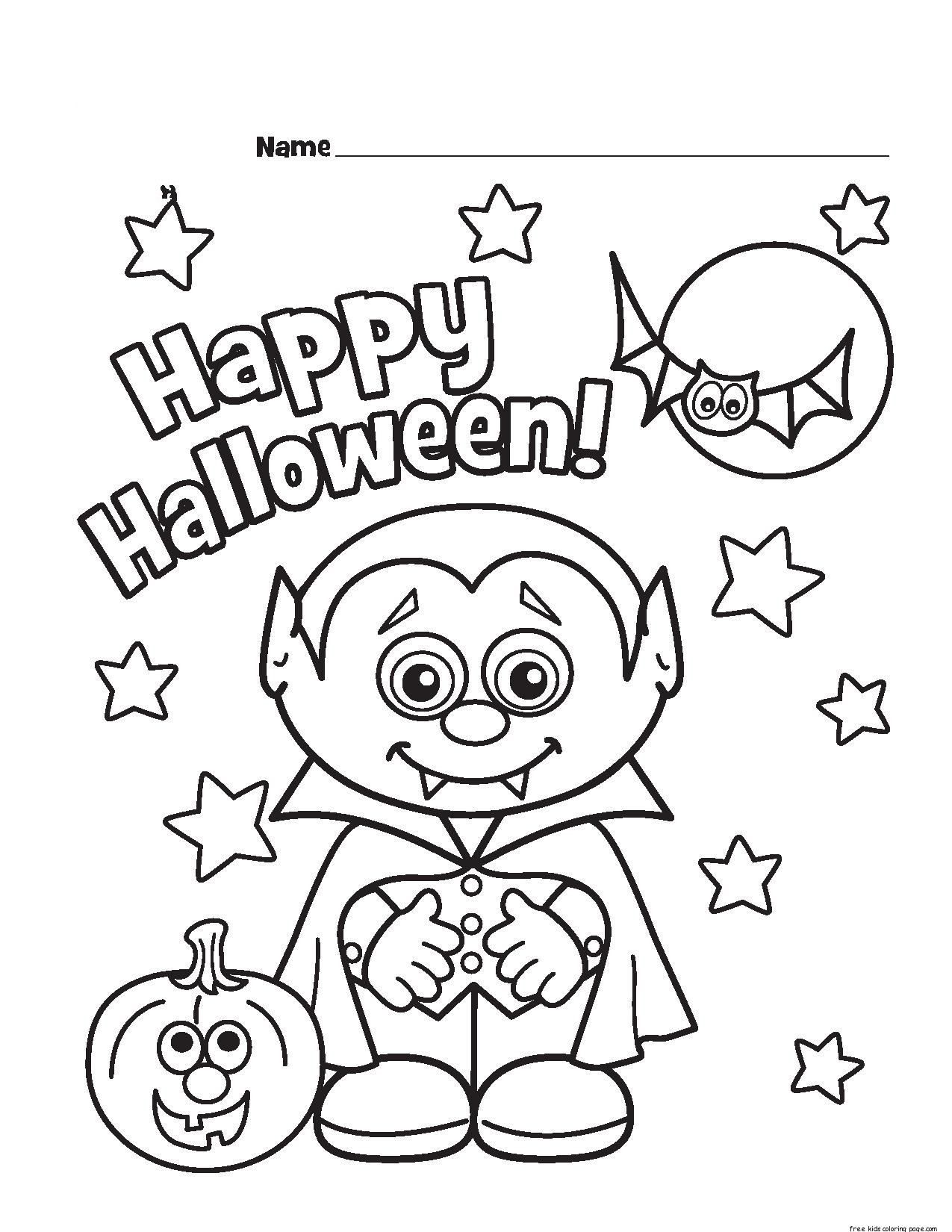 Halloween little vampire printable coloring pages free for Halloween print out coloring pages