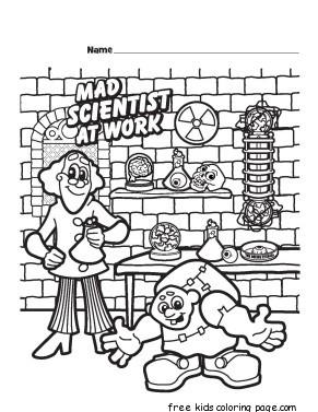 halloween mad scientist printable coloring pages for kidsfree ... - Scientist Coloring Pages Print