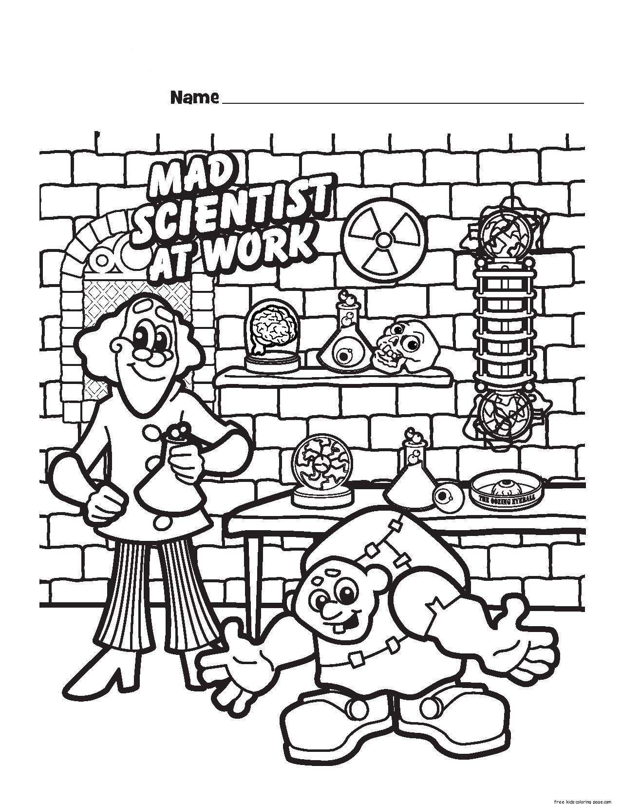 halloween mad scientist printable coloring pages for kidsfree