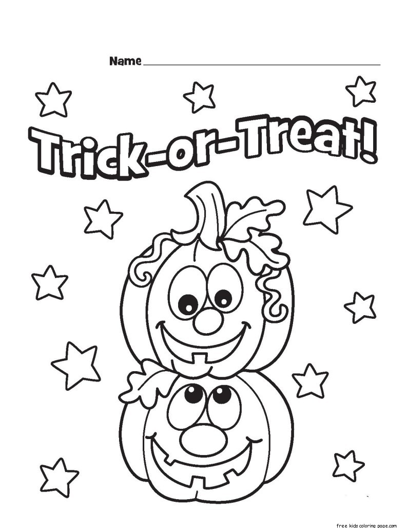 printable trick or treat pumpkins designs coloring pageFree