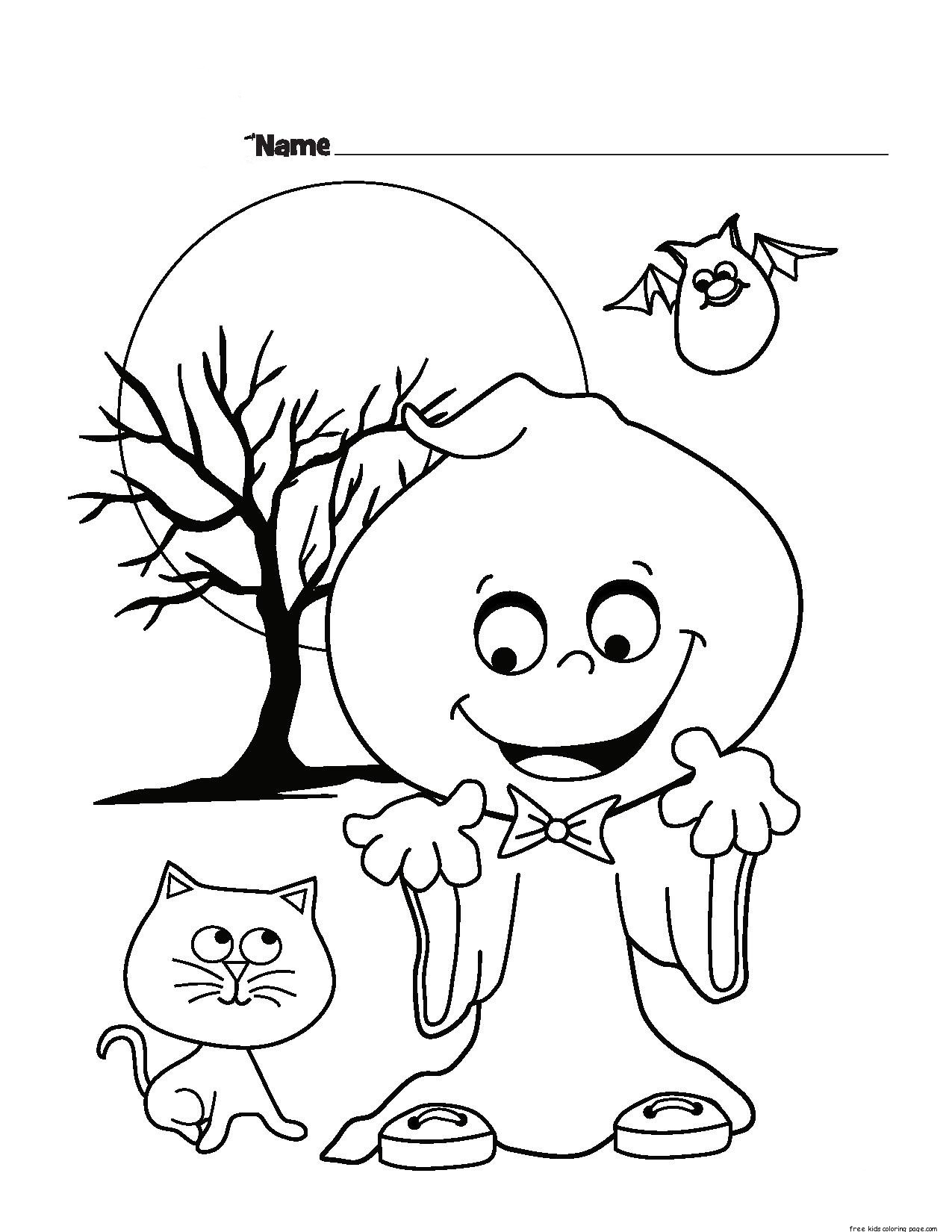 Halloween ghost printable coloring pages for kidsfree for Printable halloween coloring pages