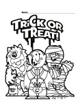 Halloween Trick or Treat Printabel coloring pages