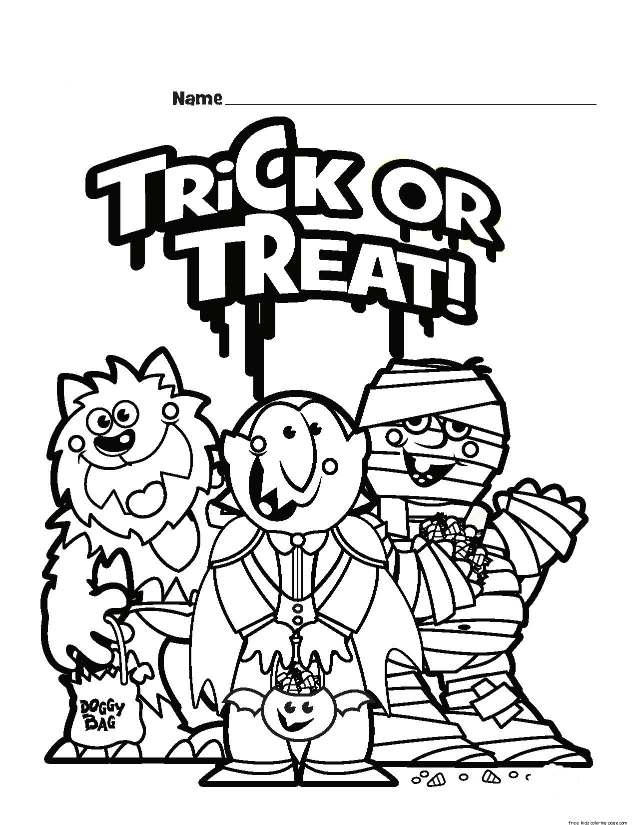 halloween trick or treat colouring pages for kidsFree ...