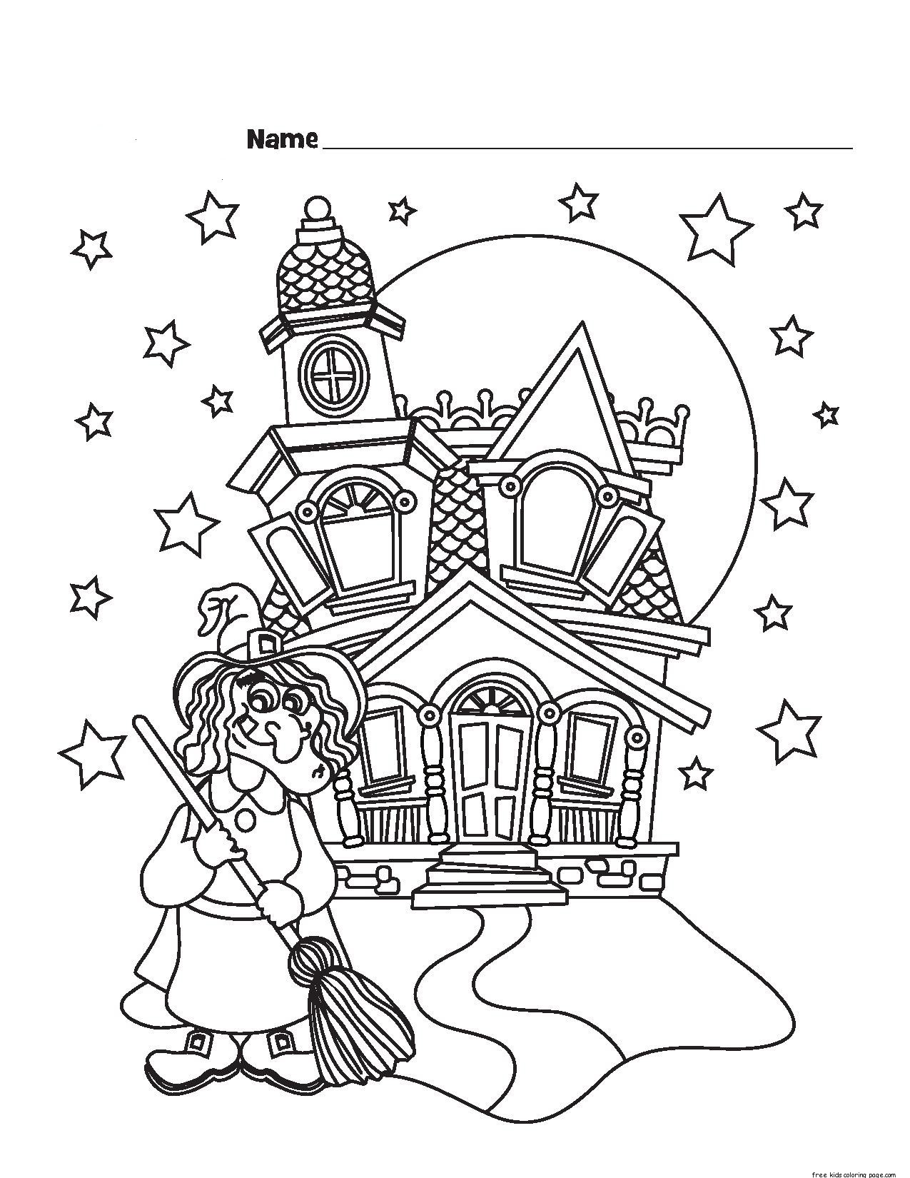 Printable halloween witch castle coloring pagesfree for Halloween print out coloring pages