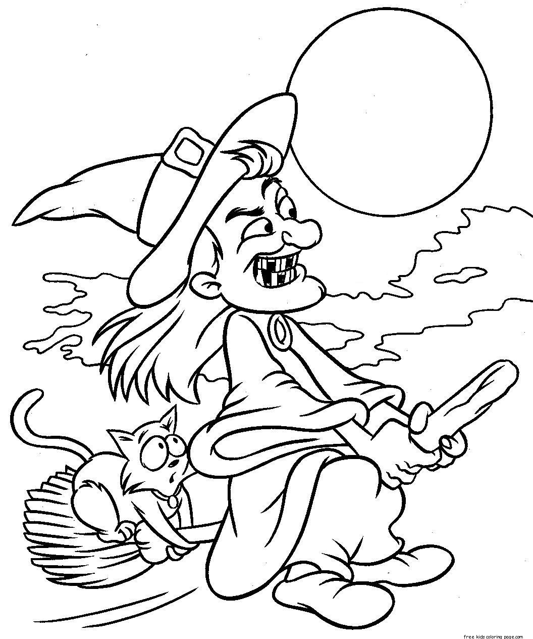 Printabel witch flying on broom