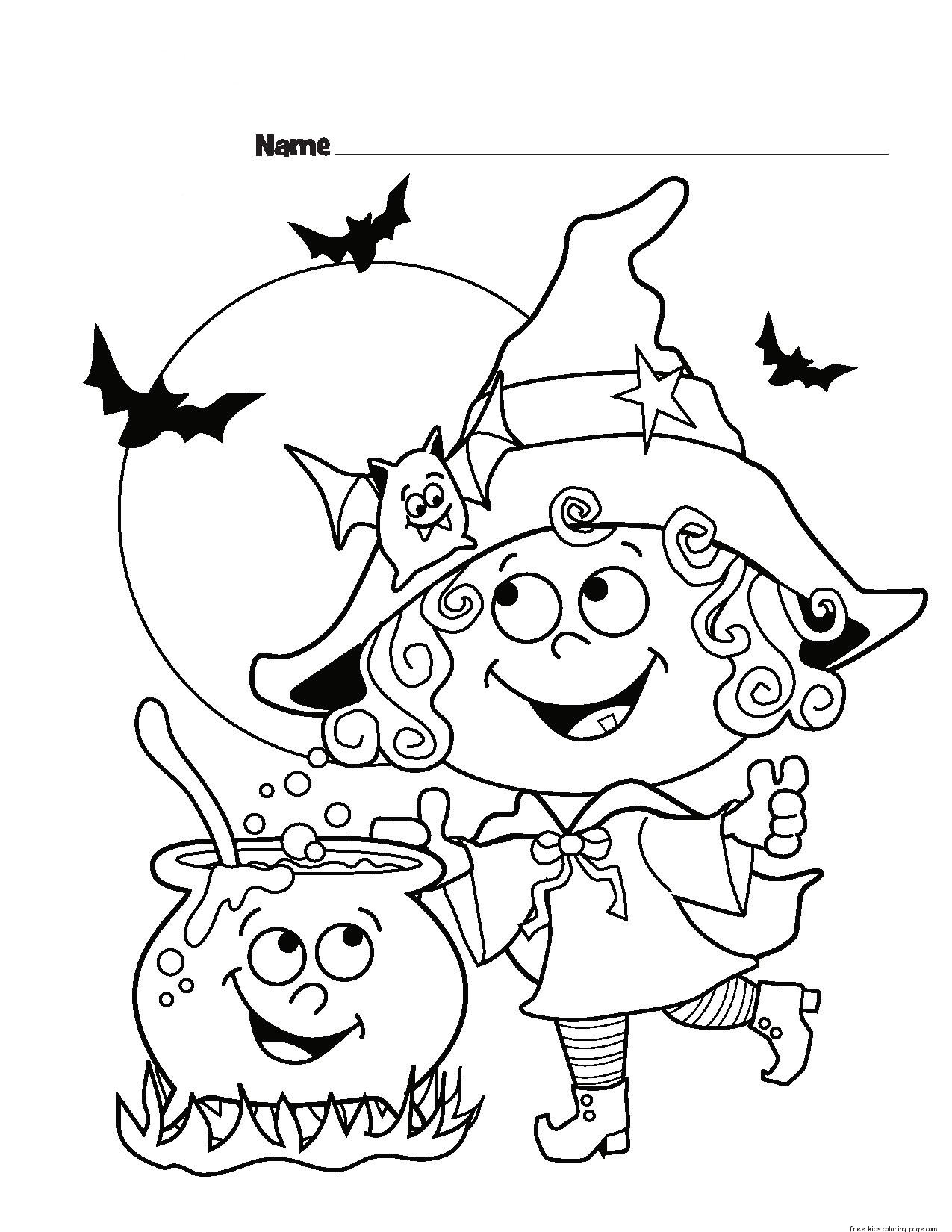 childrens halloween witch costumes coloring page for ...