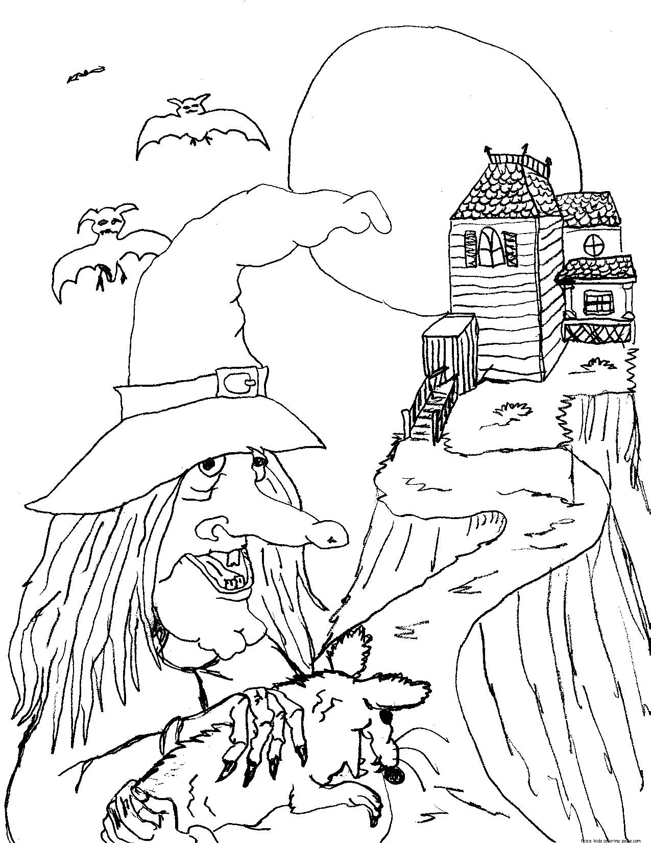 Halloween witches and black cats coloring pagefree for Halloween print out coloring pages