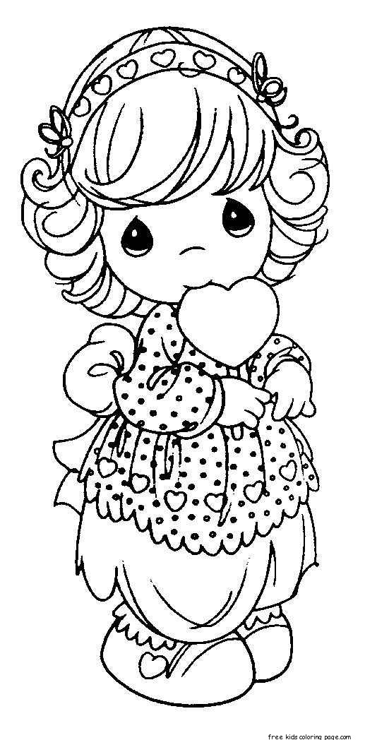 Precious moments girls smile with heart coloring pagesfree for Precious moments coloring page