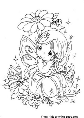Precious Moments girl with flowers coloring pages for kidsFree