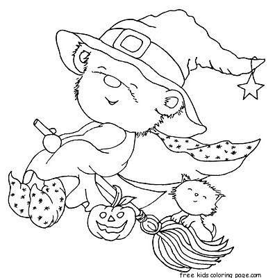 halloween teddy bear coloring pages | Print out Halloween teddy bear dressed Witch coloring ...